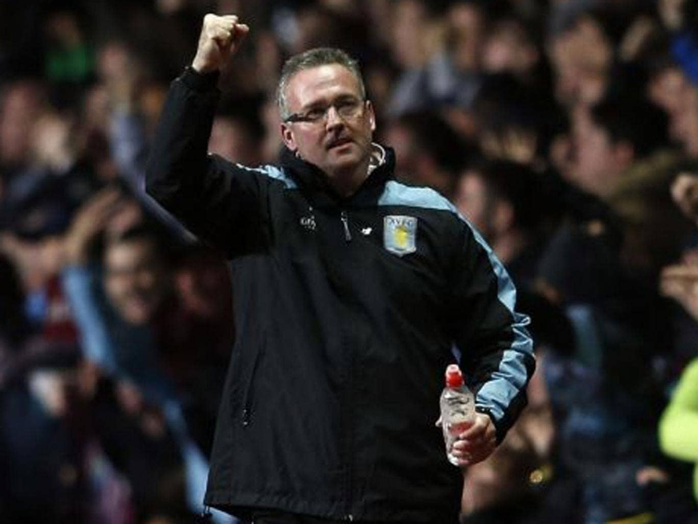 Aston Villa's manager Paul Lambert reacts during their English Premier League soccer match against Sunderland at Villa Park in Birmingham