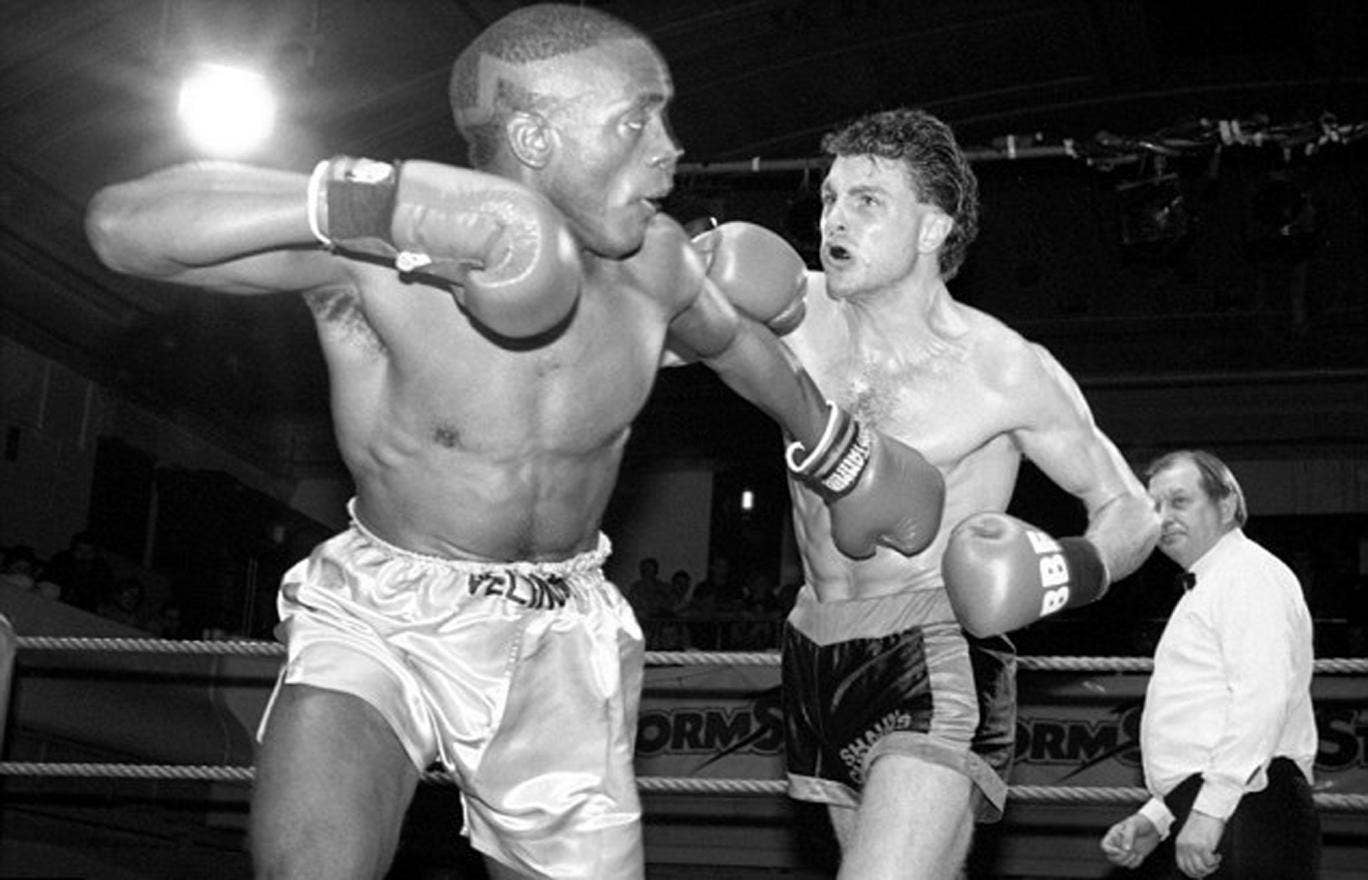 Shaun Cummins (right) fighting in 1990