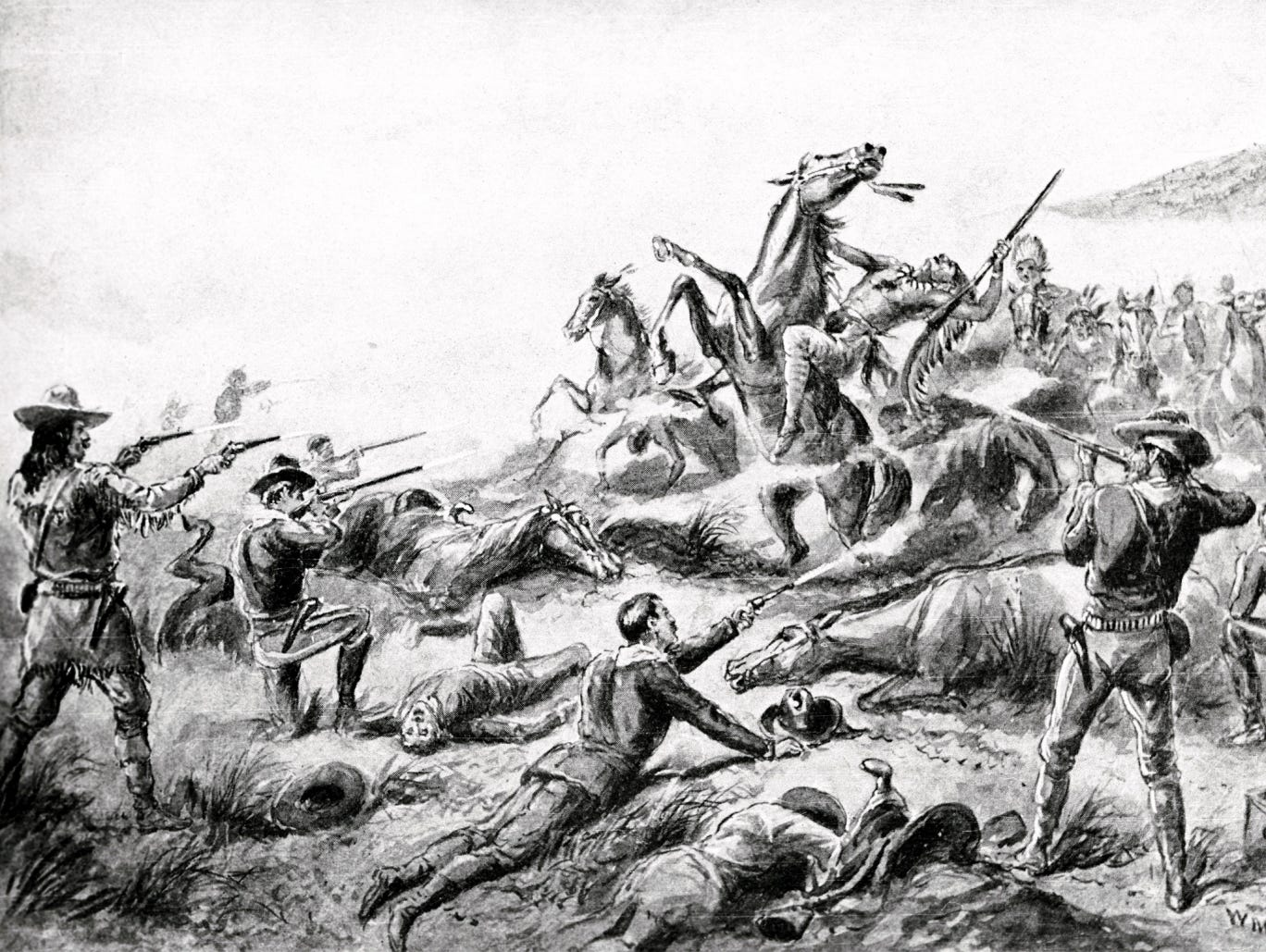 A painting of the 1890 massacre at Wounded Knee