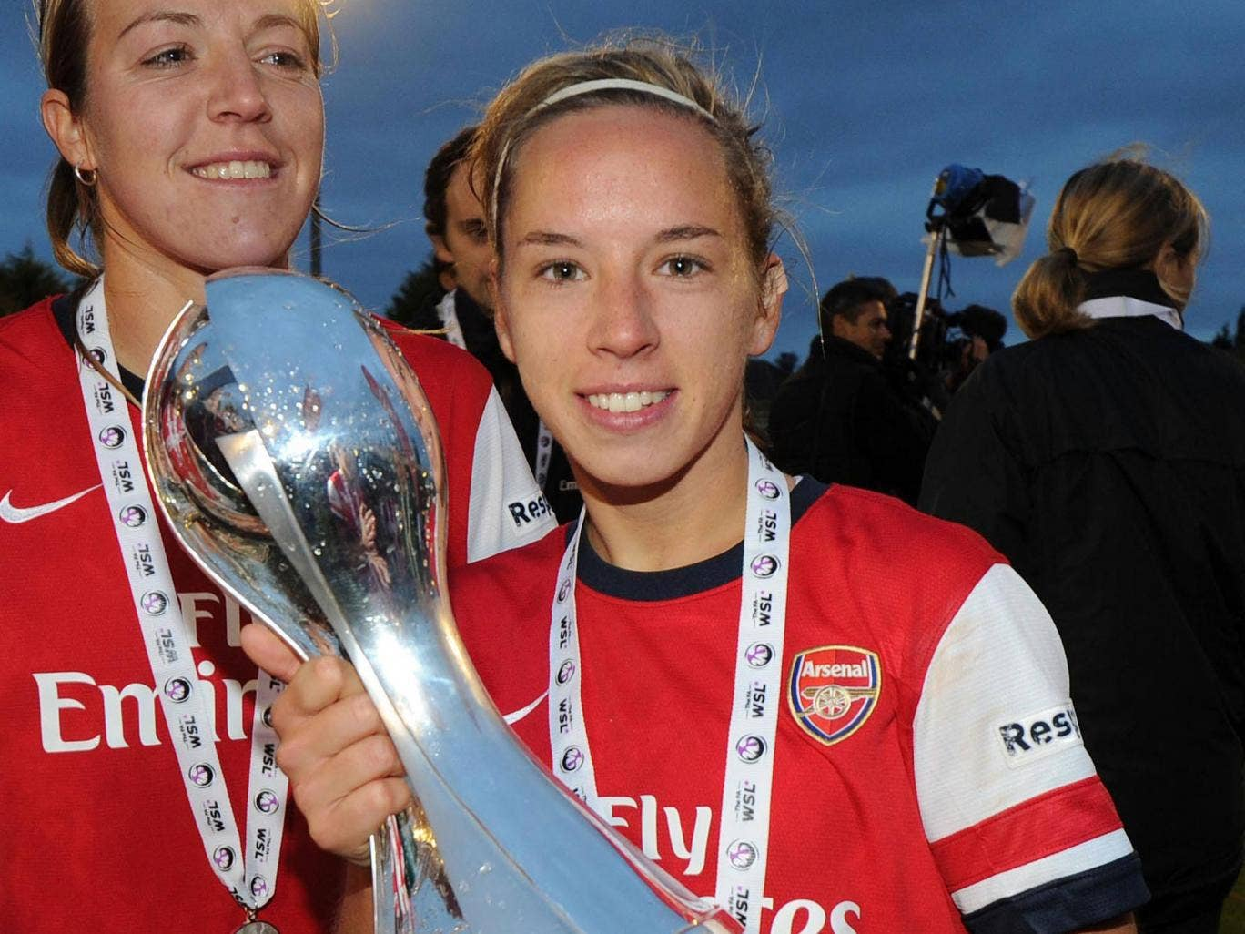 Jordan Nobbs of Arsenal with the WSL Trophy after the FA Women's Super League match between Arsenal Ladies FC and Doncaster Rovers Belles Ladies FC