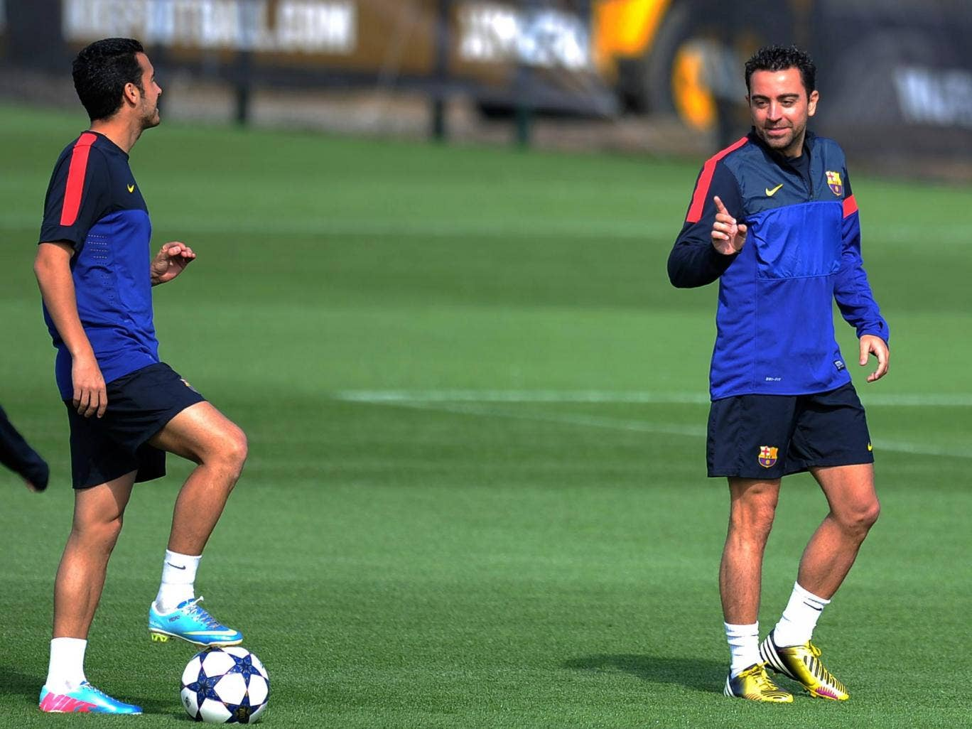 Barcelona midfielder Xavi pictured ahead of the tie with Bayern Munich