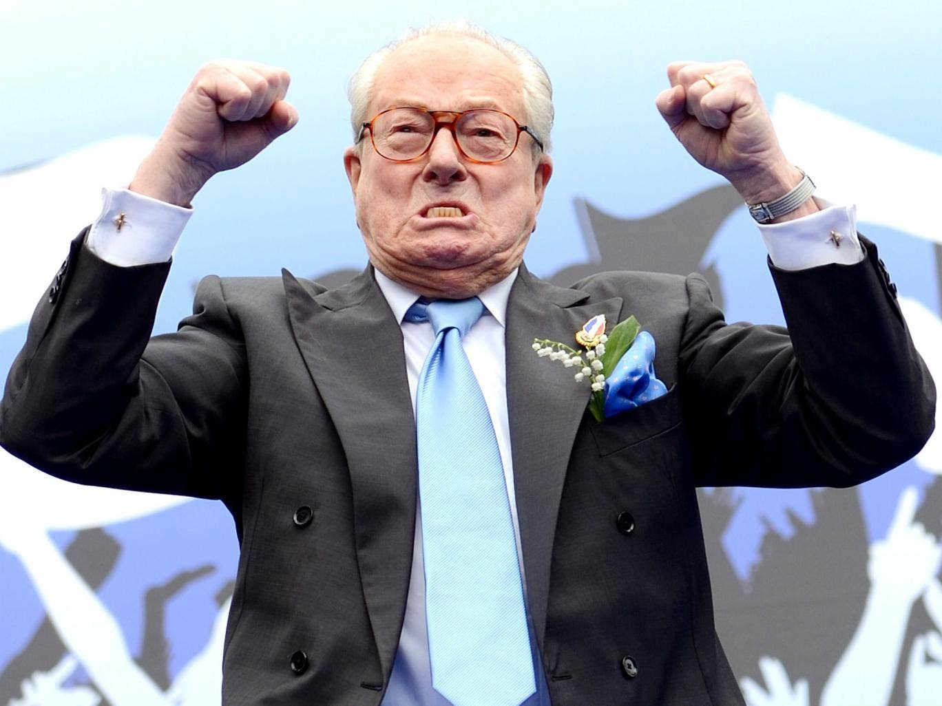 NF founder Jean-Marie Le Pen leads a Paris May Day rally