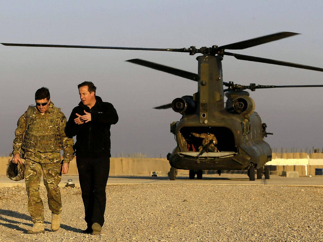 David Cameron during a visit to troops in Afghanistan last December