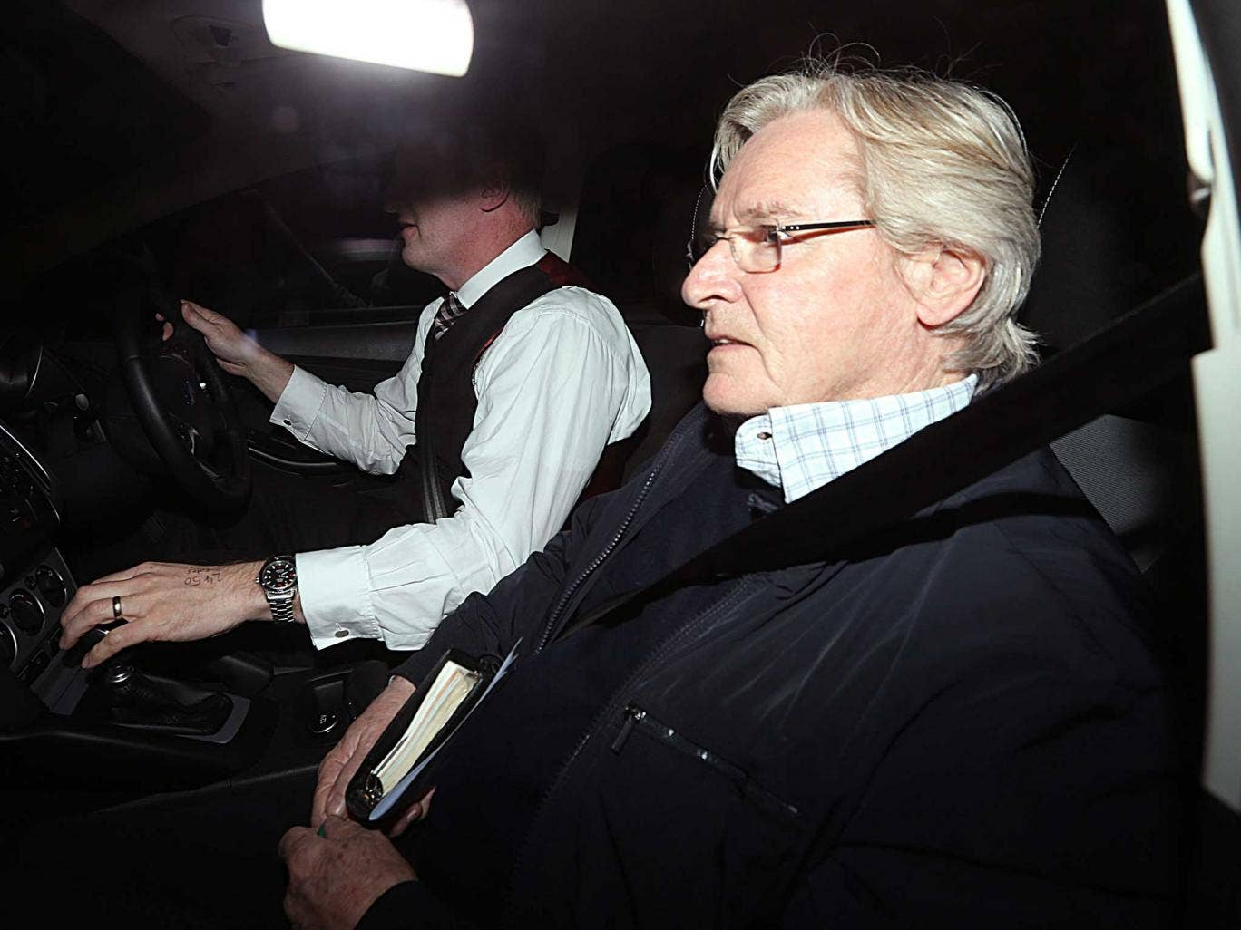Coronation Street actor Bill Roache arriving home in Cheshire after it was announced that he has been arrested on suspicion of an historic allegation of a sexual assault