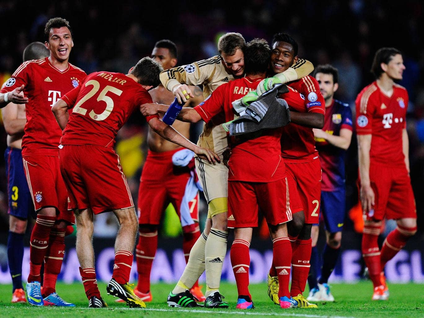 Bayern Munich celebrate their 7-0 aggregate victory over Barcelona