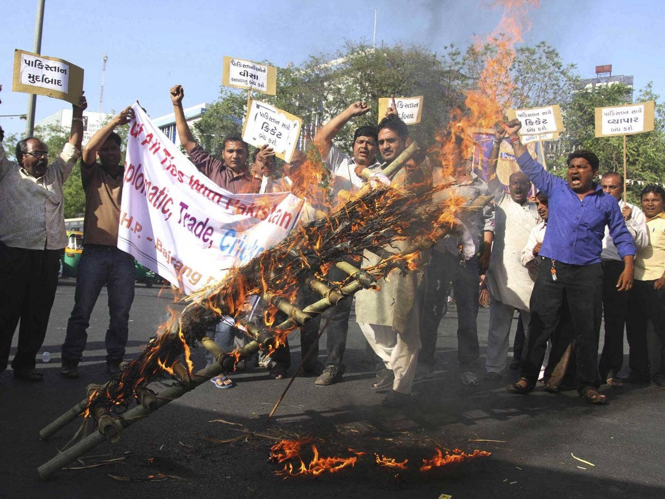 Indian activists of right wing Hindu groups burn an effigy representing Pakistan after Sarabjit Singh, a convicted Indian spy who was on Pakistan's death row, died from a head injury