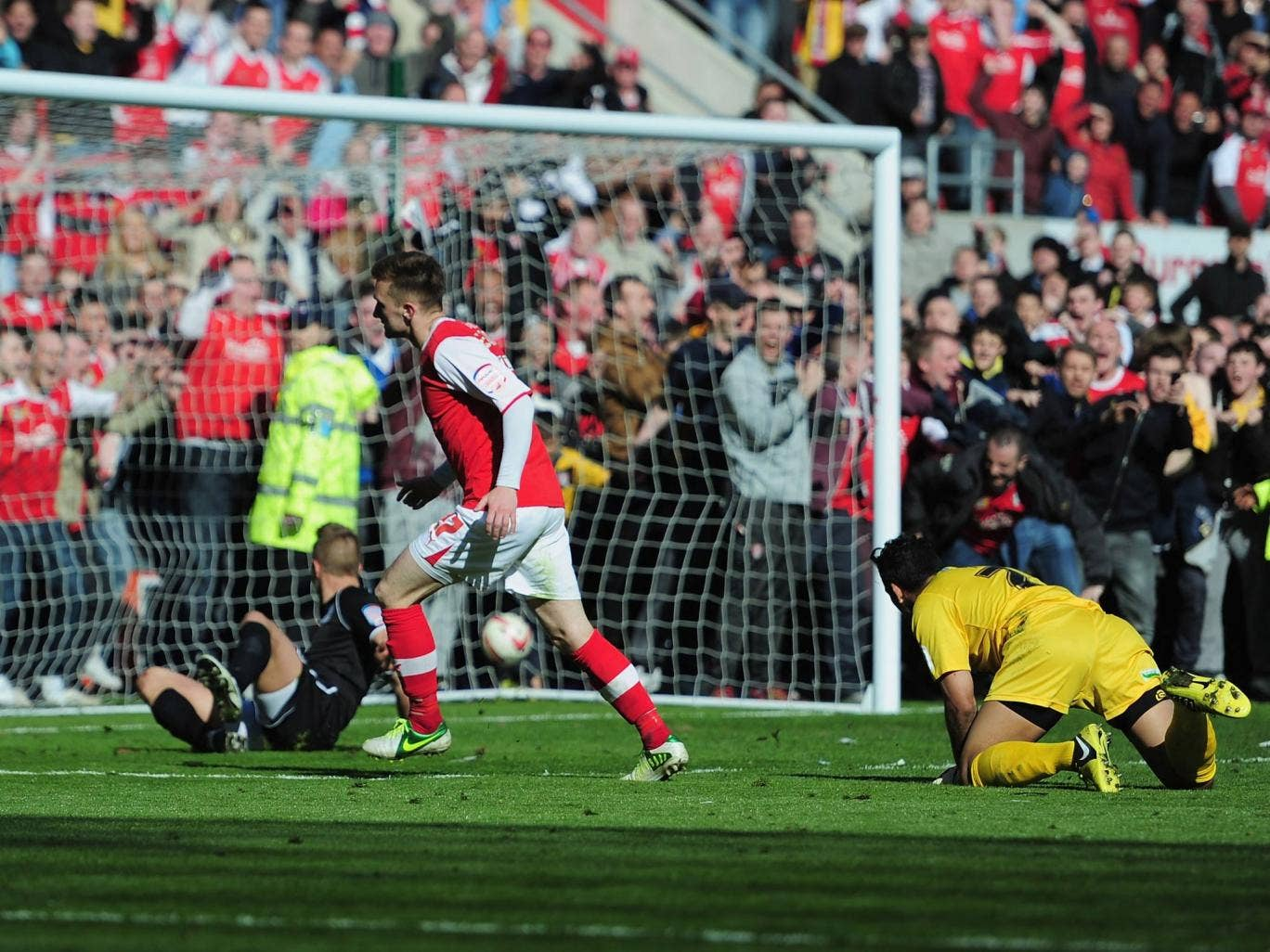 Lee Frecklington of Rotherham United scores a goal during the npower League Two match against Aldershot Town