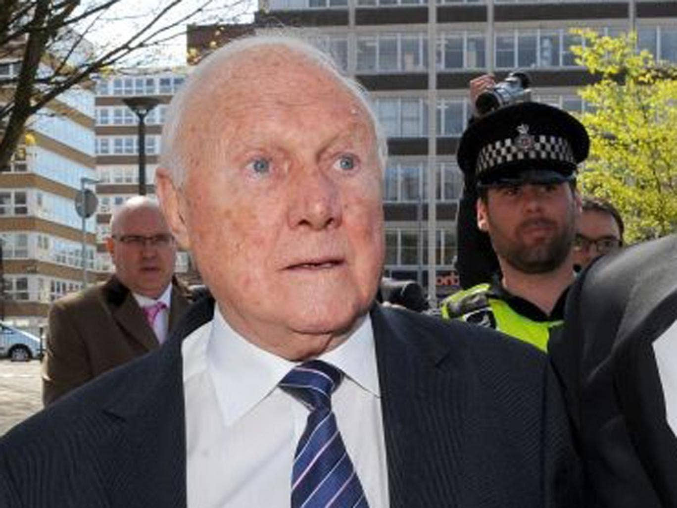Hall arriving at court this morning
