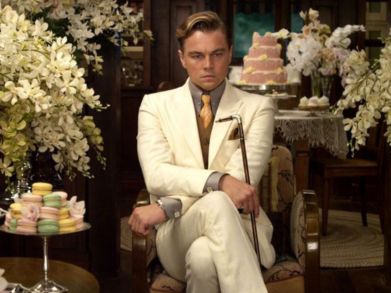 Leonardo Di Caprio playing Jay Gatsby in The Great Gatsby