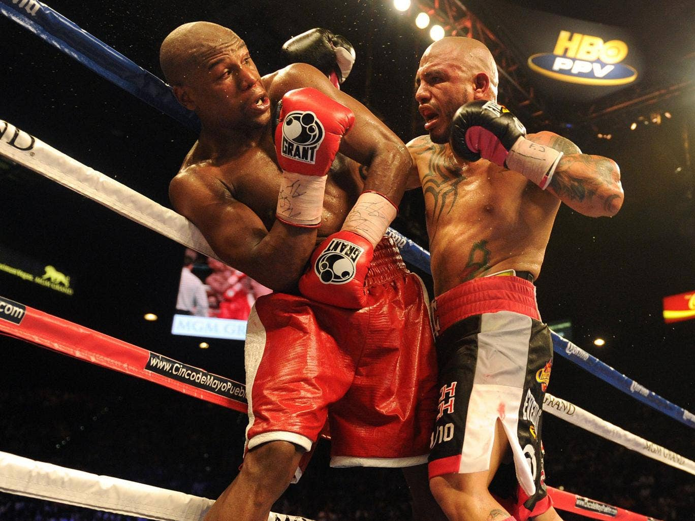 Floyd Mayweather is forced against the ropes in his last fight, against Miguel Cotto