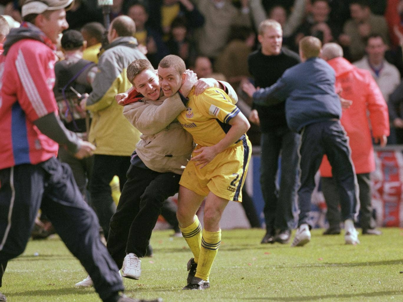 Palace's Jamie Smith celebrates survival in 2001, ending an anxious time for Eagles fans