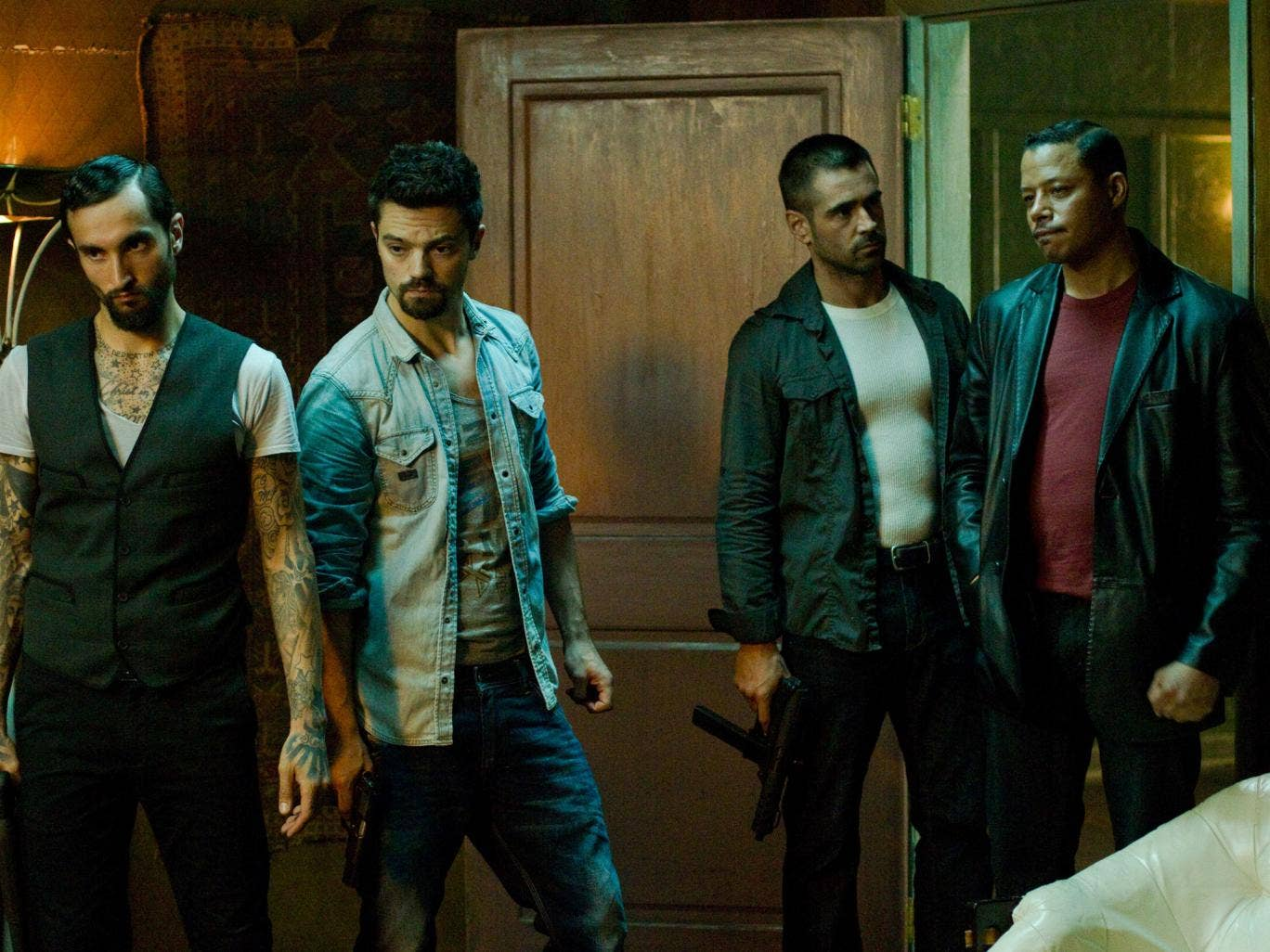 Criminal minds: Colin Farrell, centre right, hangs out with the gang in Dead Man Down