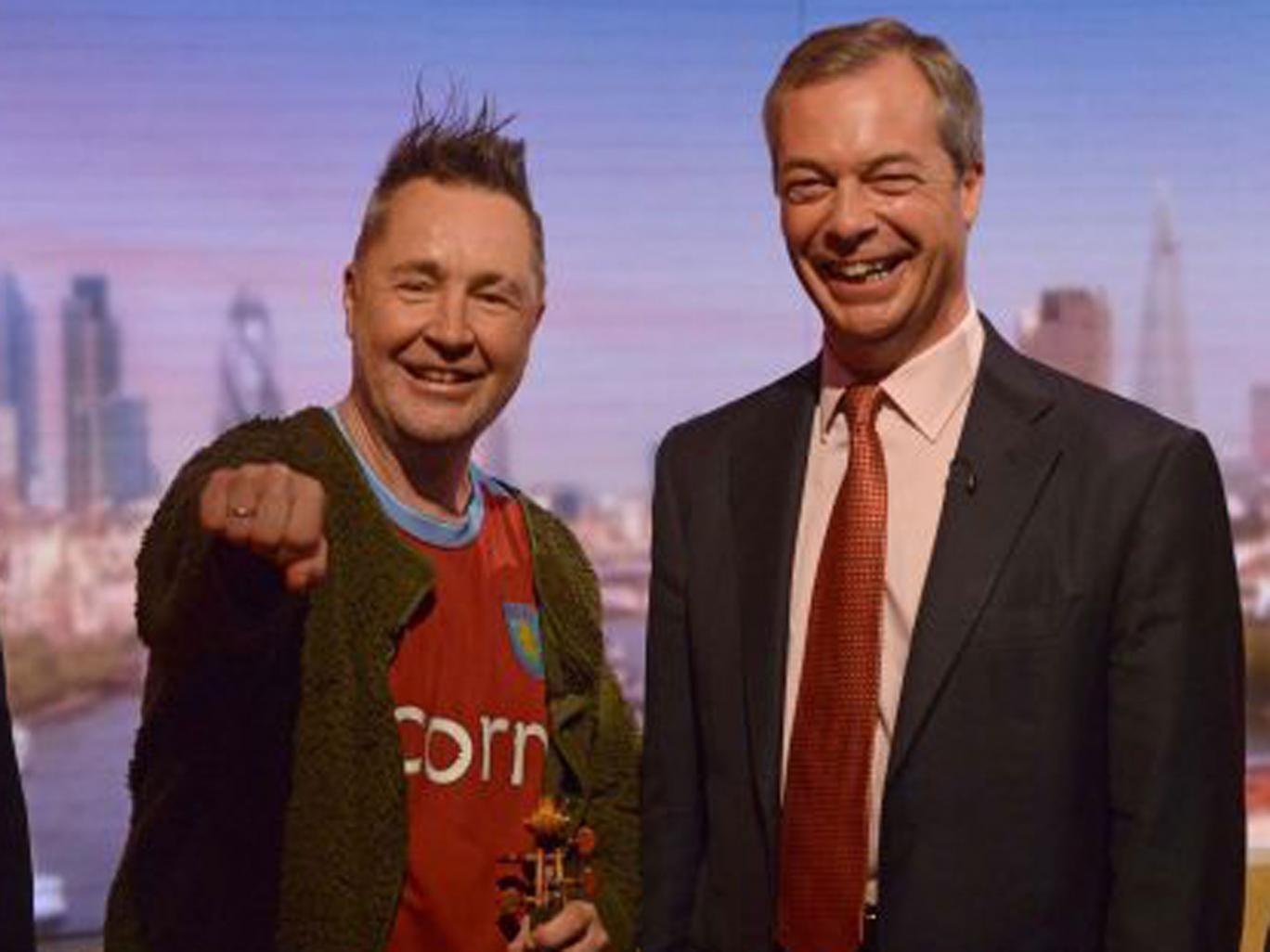 Violinist Nigel Kennedy with Nigel Farage on Andrew Marr Show