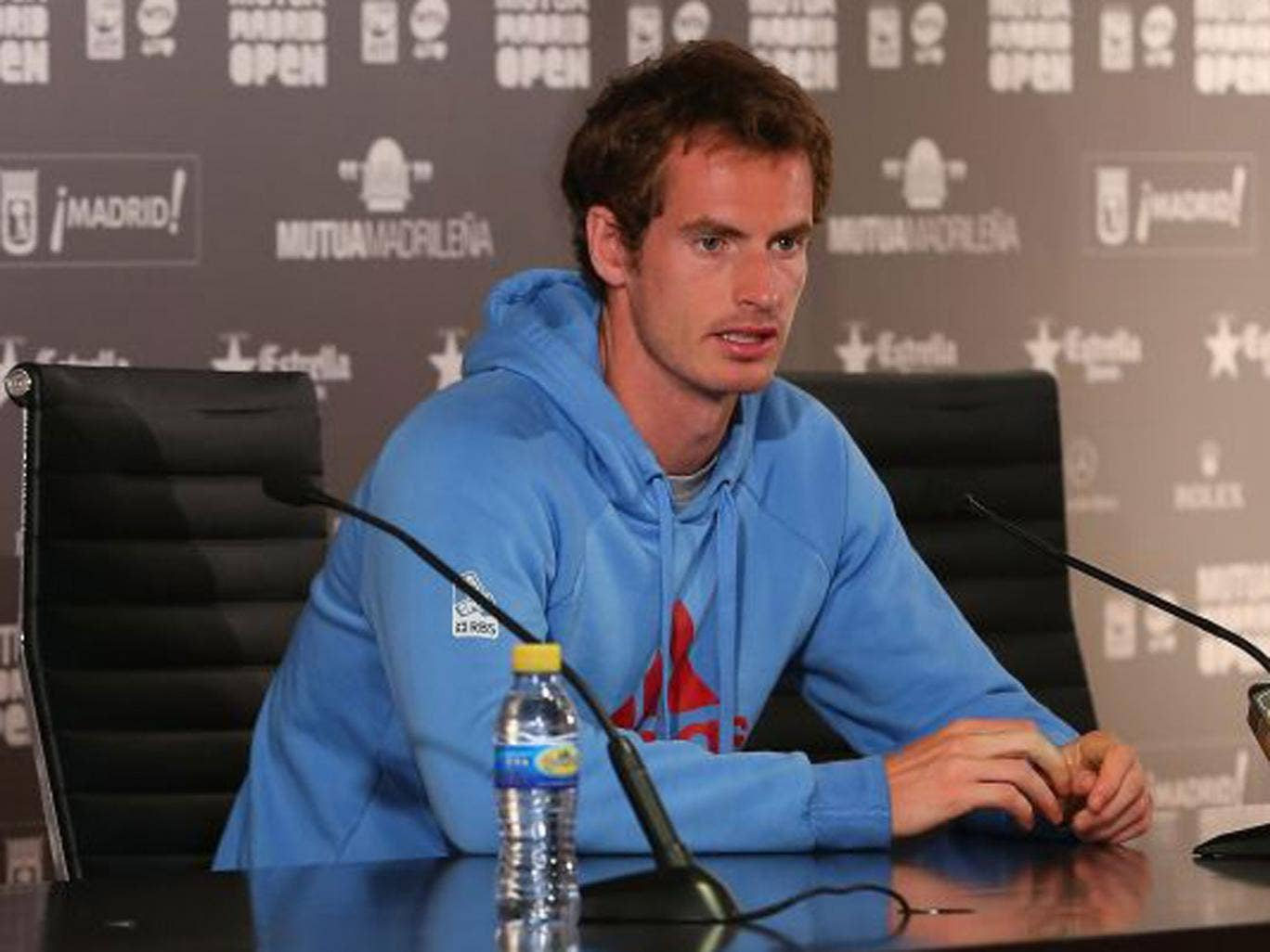 Andy Murray faces the media in Madrid