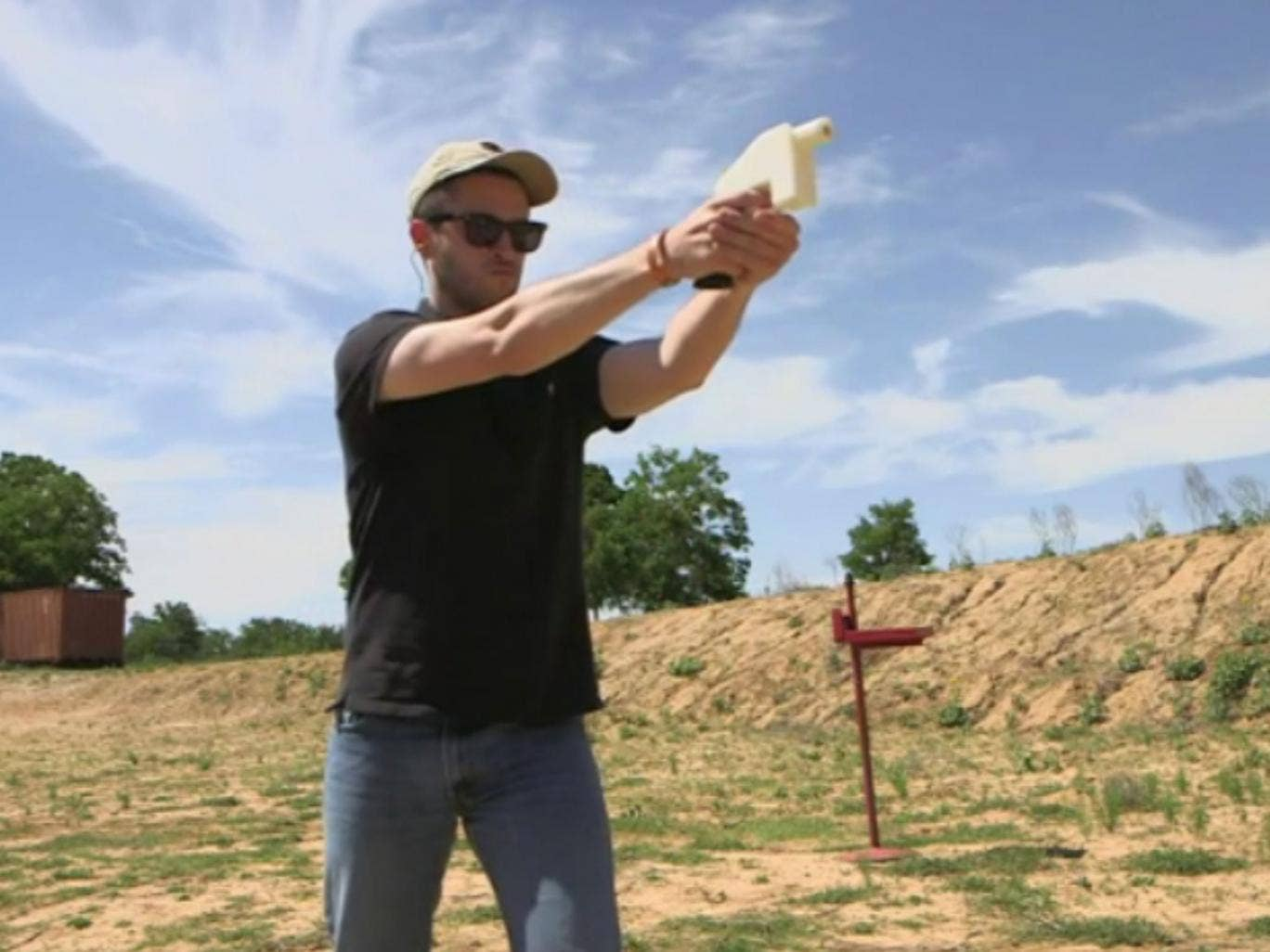 Cody Wilson test fires the Liberator, which is a 3D printer handgun