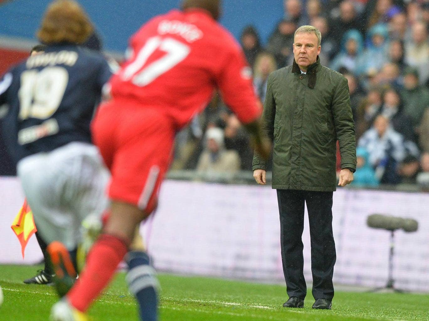 Kenny Jackett looks on during Millwall's FA Cup semi-final defeat to Wigan