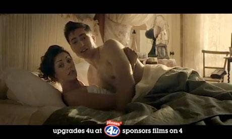 "Phones 4 U ad shows a woman in bed with her boyfriend saying: ""I'm faking it, can I upgrade?"""