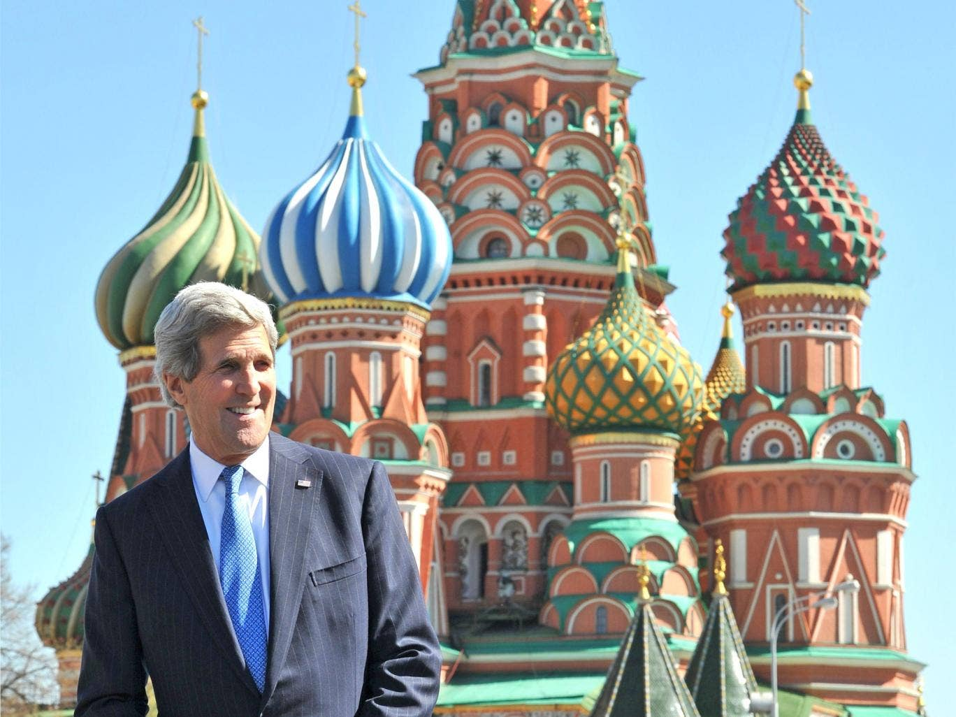 John Kerry at St Basil's cathedral in Moscow's Red Square yesterday