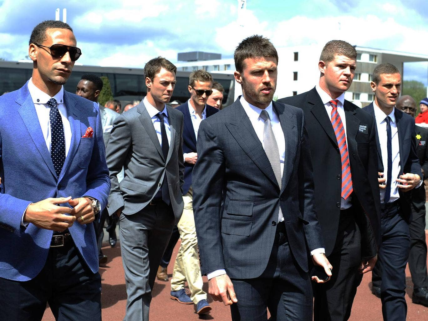 Rio Ferdinand, Jonny Evans, Michael Carrick and Nemanja Vidic at Chester Races following the announcement Sir Alex Ferguson is stepping down