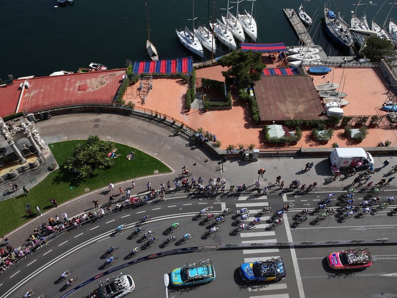 An overhead view of the Giro d'Italia