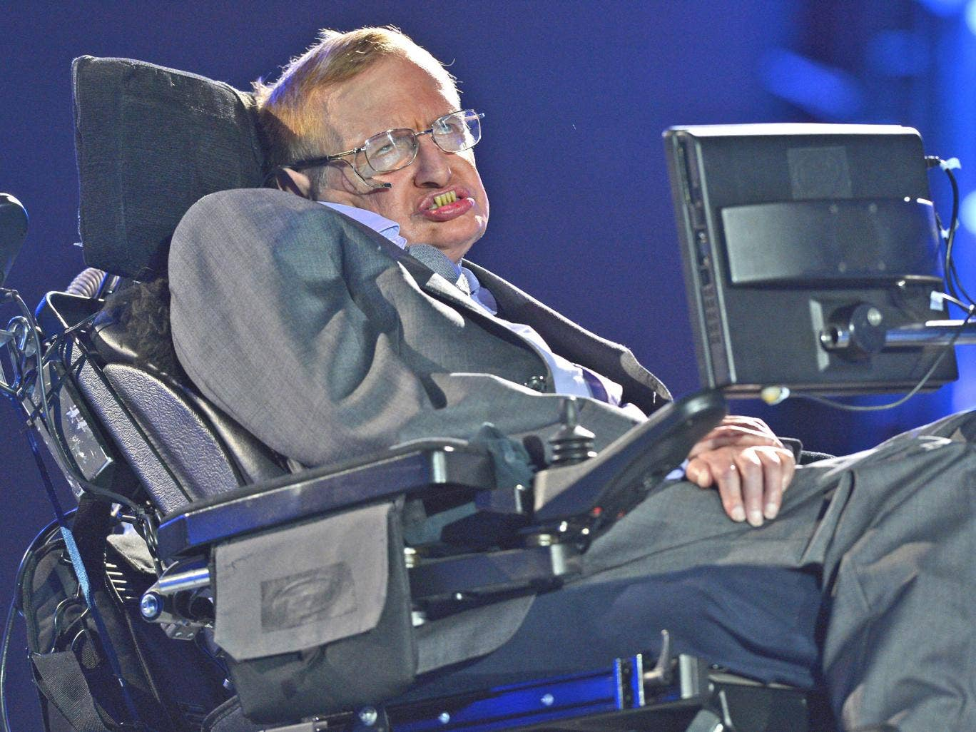 Stephen Hawking appears during the opening ceremony of the London 2012 Paralympic Games