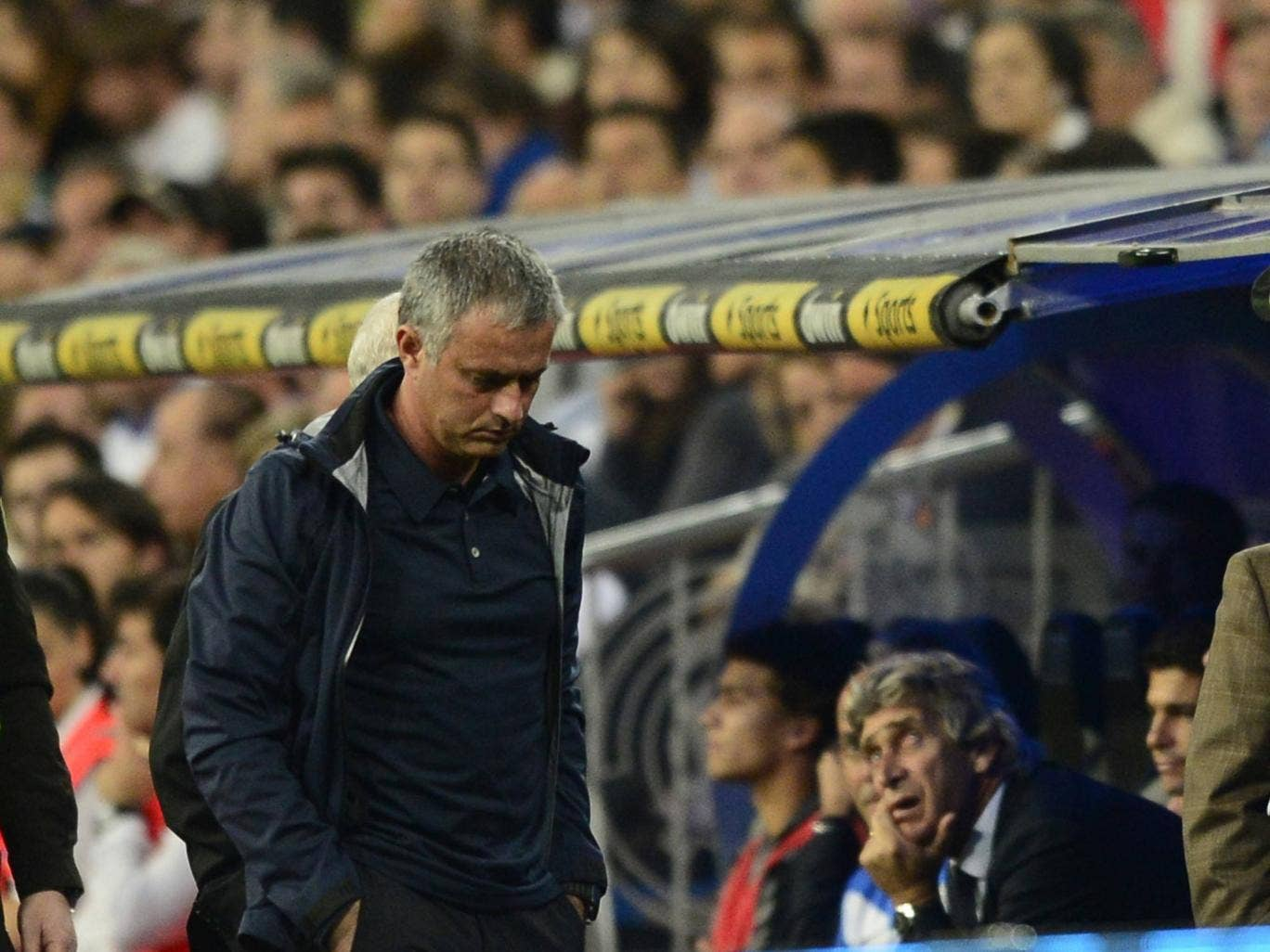 Jose Mourinho pictured during his side's 6-2 win over Malaga