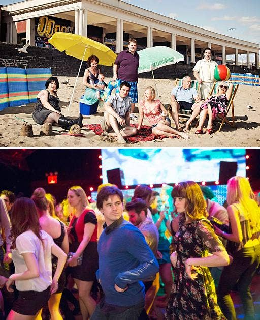 From Barry to smalltown Pennsylvania? Top shows British cast of Gavin And Stacey; bottom shows Jason Ritter and Alexis Bledel in the American version