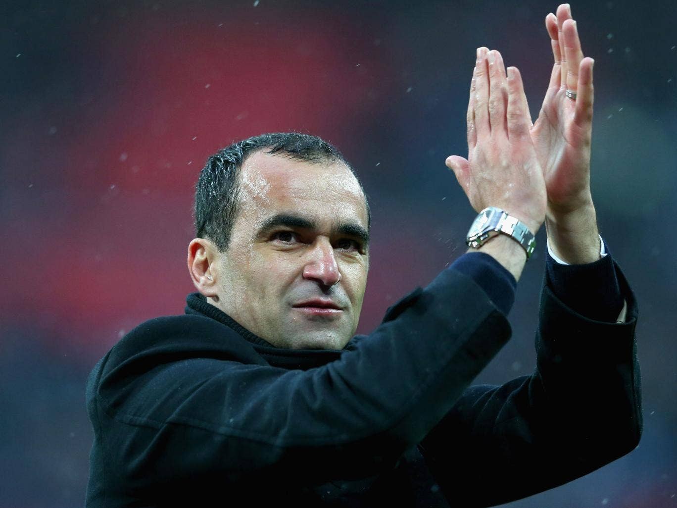 Wigan Athletic manager Roberto Martinez applauds the fans after the semi final match between Millwall and Wigan Athletic