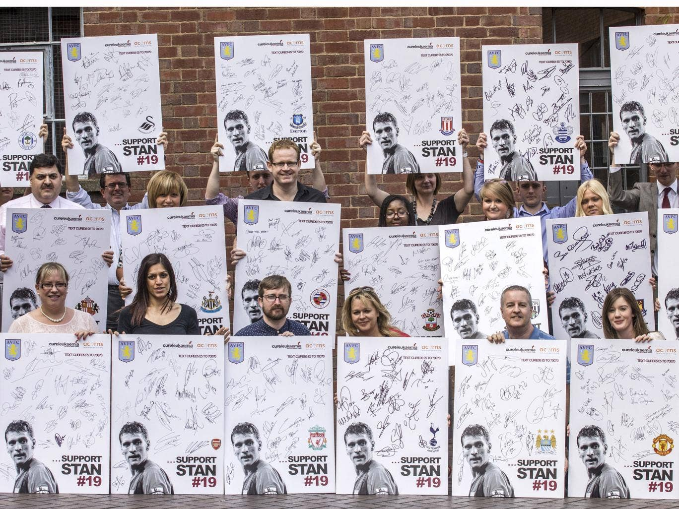 19 individual boards have been signed by every Premier League club over the 2012-13 season and are being be raffled off in a text-to-donate campaign that aims to raise a total of £100,000 to fund specialist nurses and drugs trials for leukaemia patients a