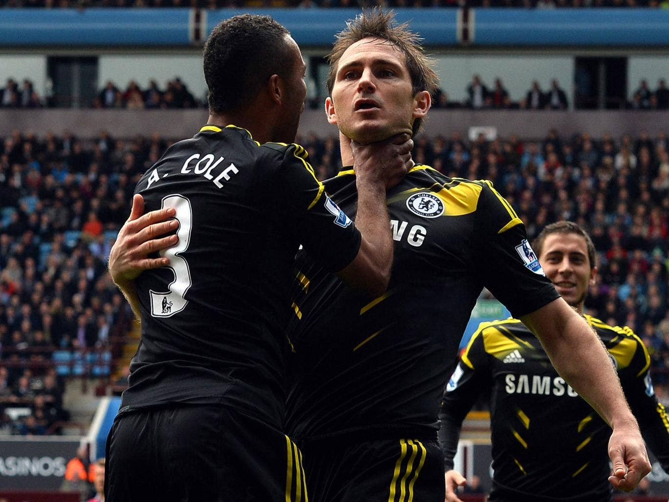 Frank Lampard celebrates his 202nd goal as he claims the all-time Chelsea goal-scoring record