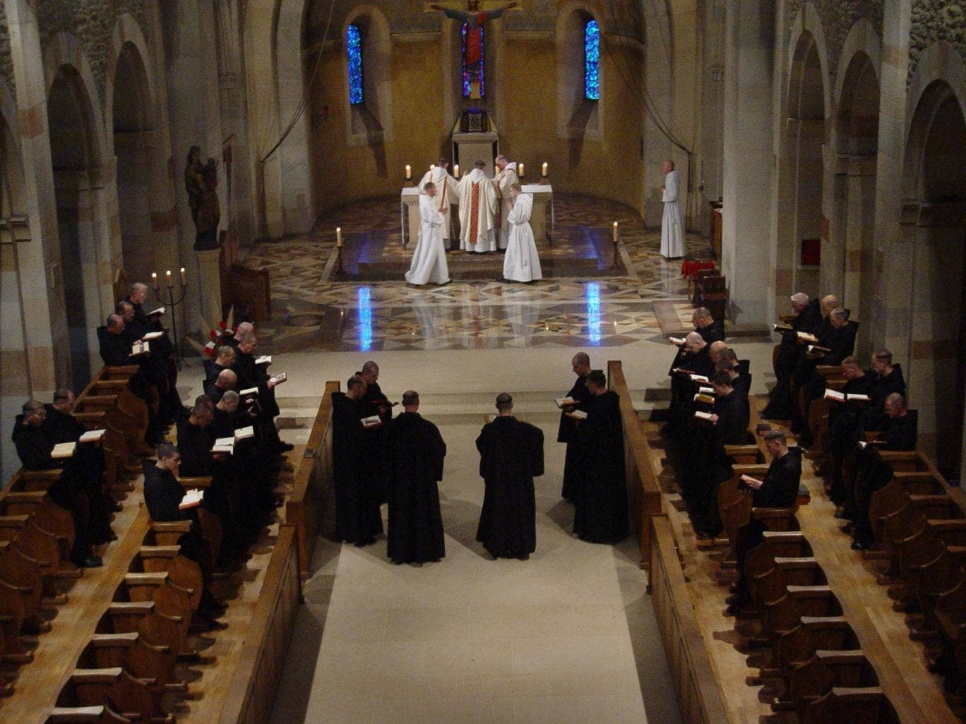 Mysterious ways: The Latin chants of French Benedictine monks at prayer can now be enjoyed on the internet