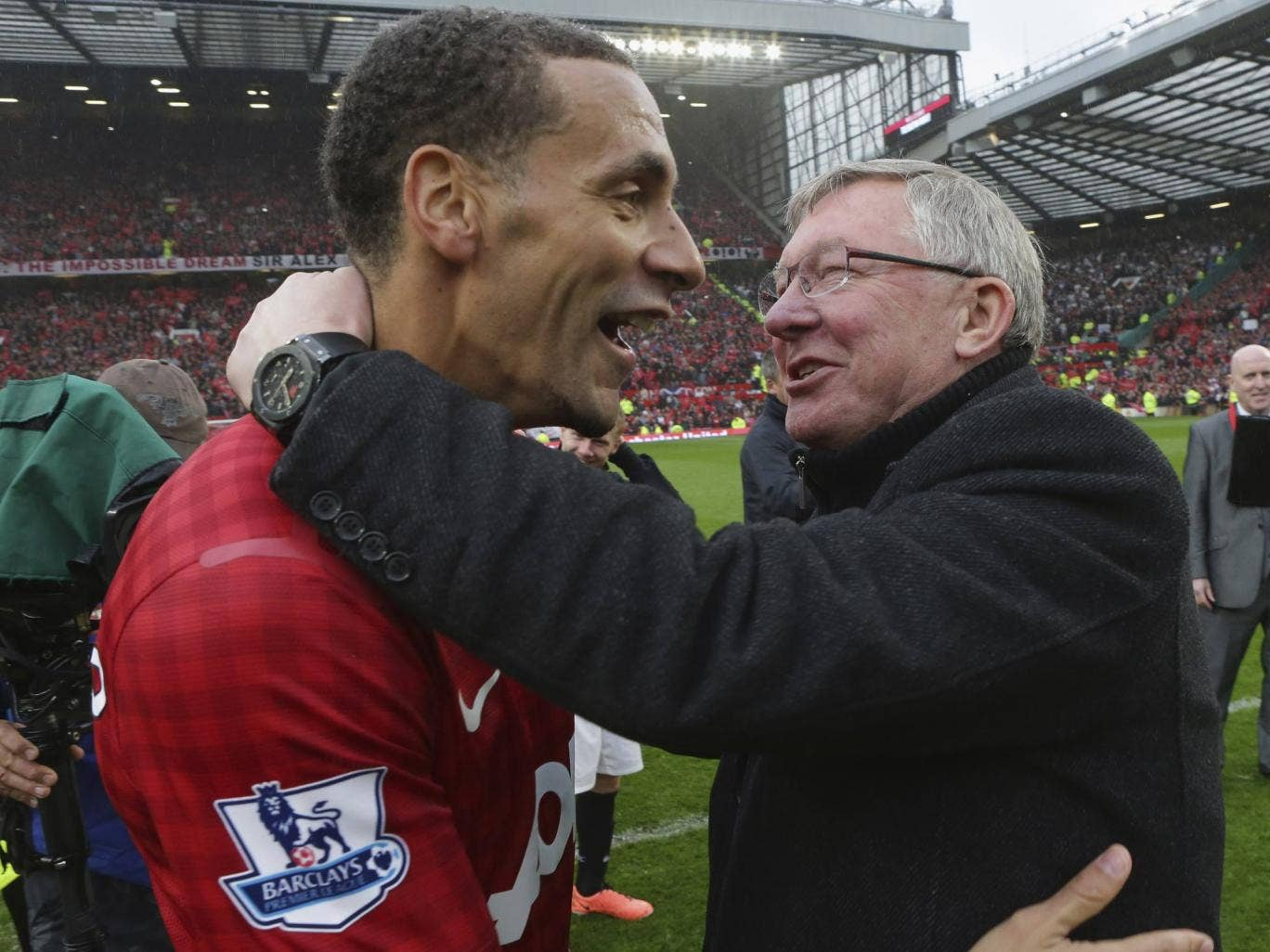Rio Ferdinand and Sir Alex Ferguson share a moment after the former's winning goal gave Manchester United a 2-1 win over Swansea
