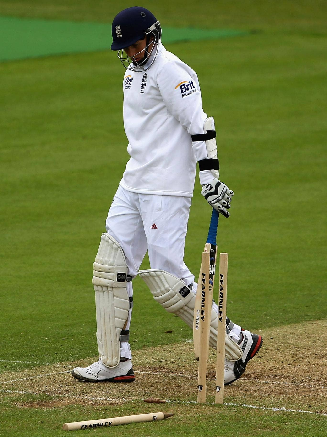England Lions' Joe Root is bowled after making 179