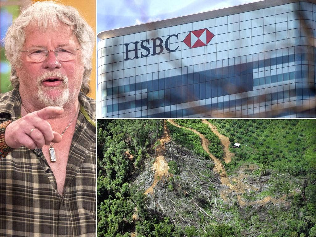 Naturalist and television presenter Bill Oddie; HSBC's London HQ; Deforestation in the Malaysian Borneo state of Sarawak
