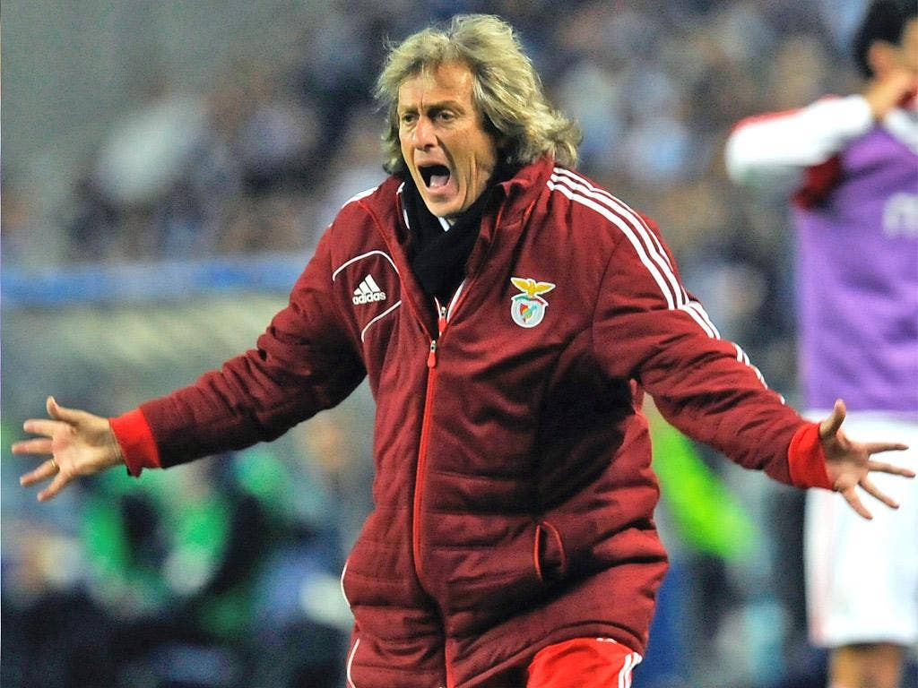 Jorge Jesus in full flow during Saturday's defeat to Porto which is likely to cost Benfica the Portuguese title