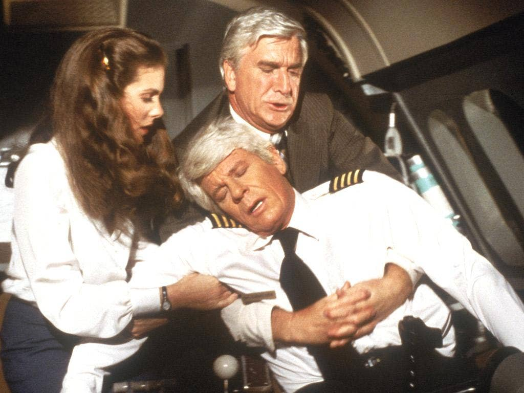 Leslie Nielson was the doctor on hand in the disaster spoof 'Airplane!'
