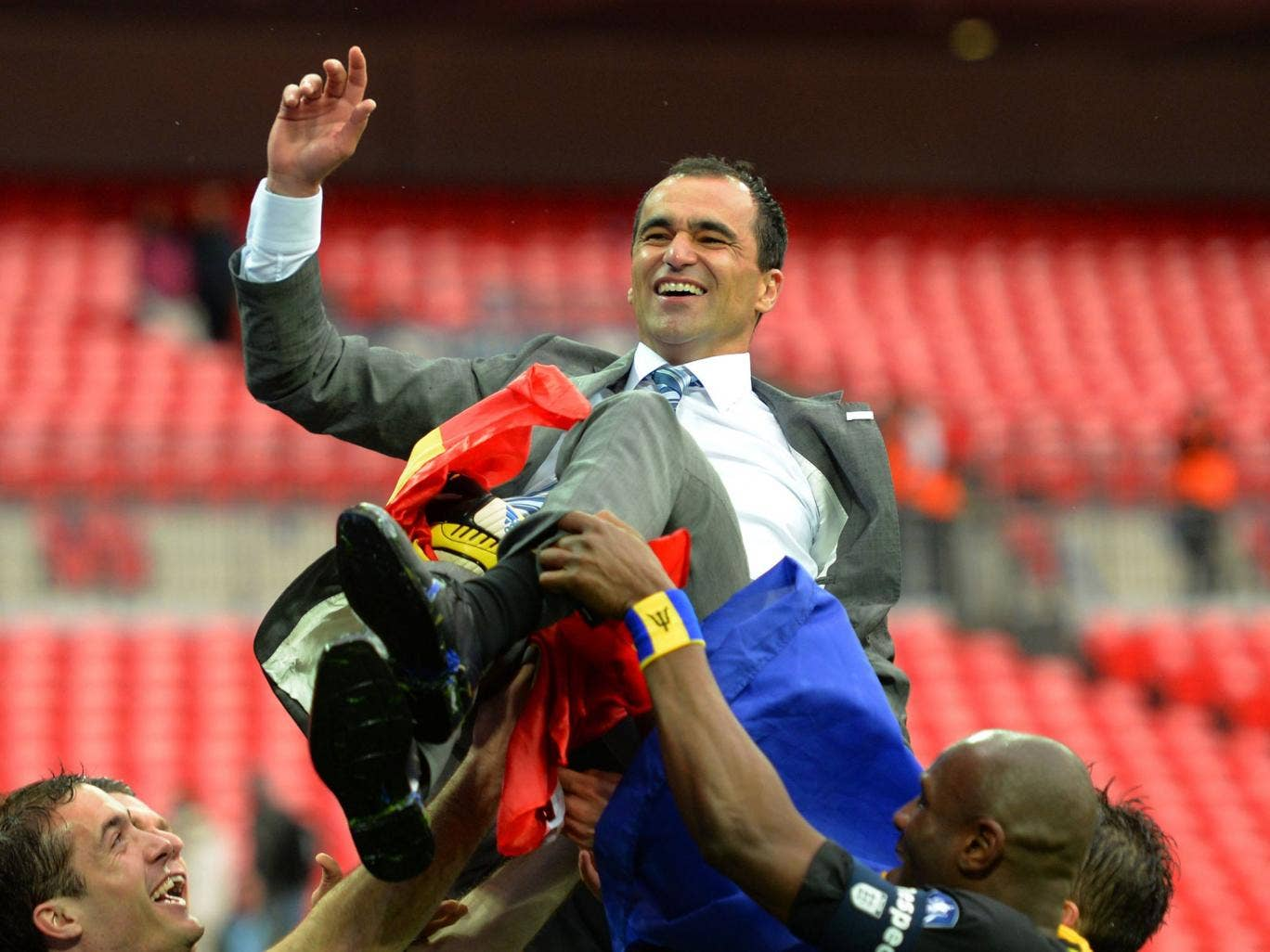 Roberto Martinez celebrates after winning the FA Cup