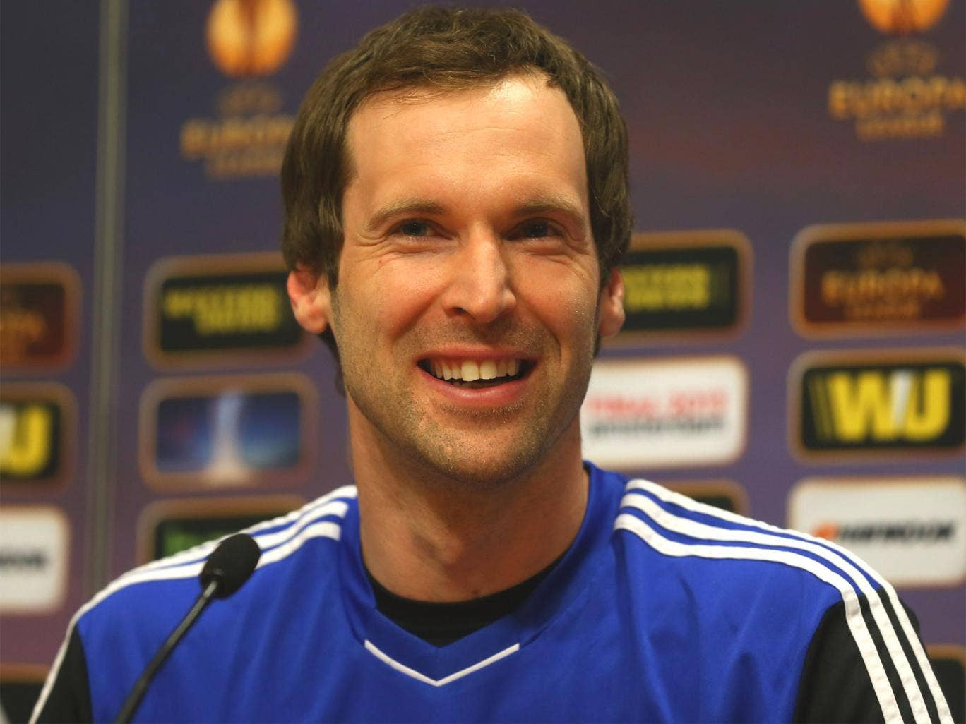 Petr Cech speaks at the press conference ahead of the Europa League final