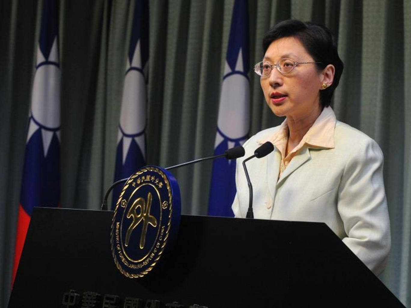 Taiwan's Foreign Affairs Ministry spokeswoman Anna Kao speaks during a press conference in Taipei saying she had refused to see Philippine special envoy Amadeo Perez in regards to Philippine coastguards shooting dead a 65-year-old fisherman last week afte
