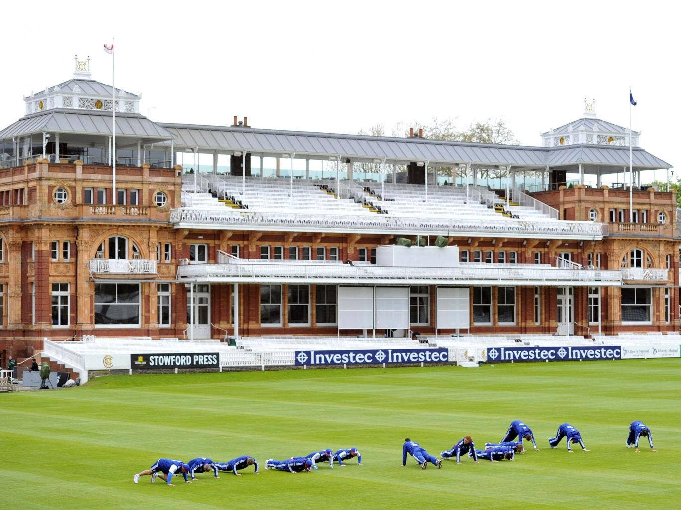 England warm up at Lord's yesterday