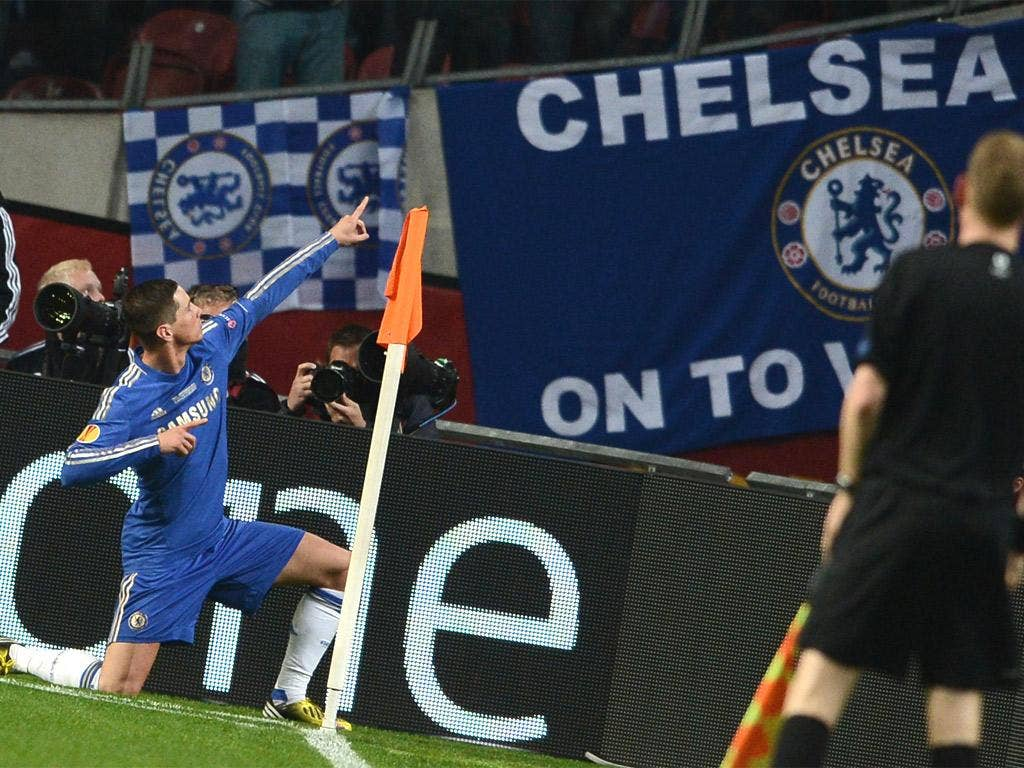 Torres salutes the Chelsea fans after the Spaniard gave Chelsea the lead