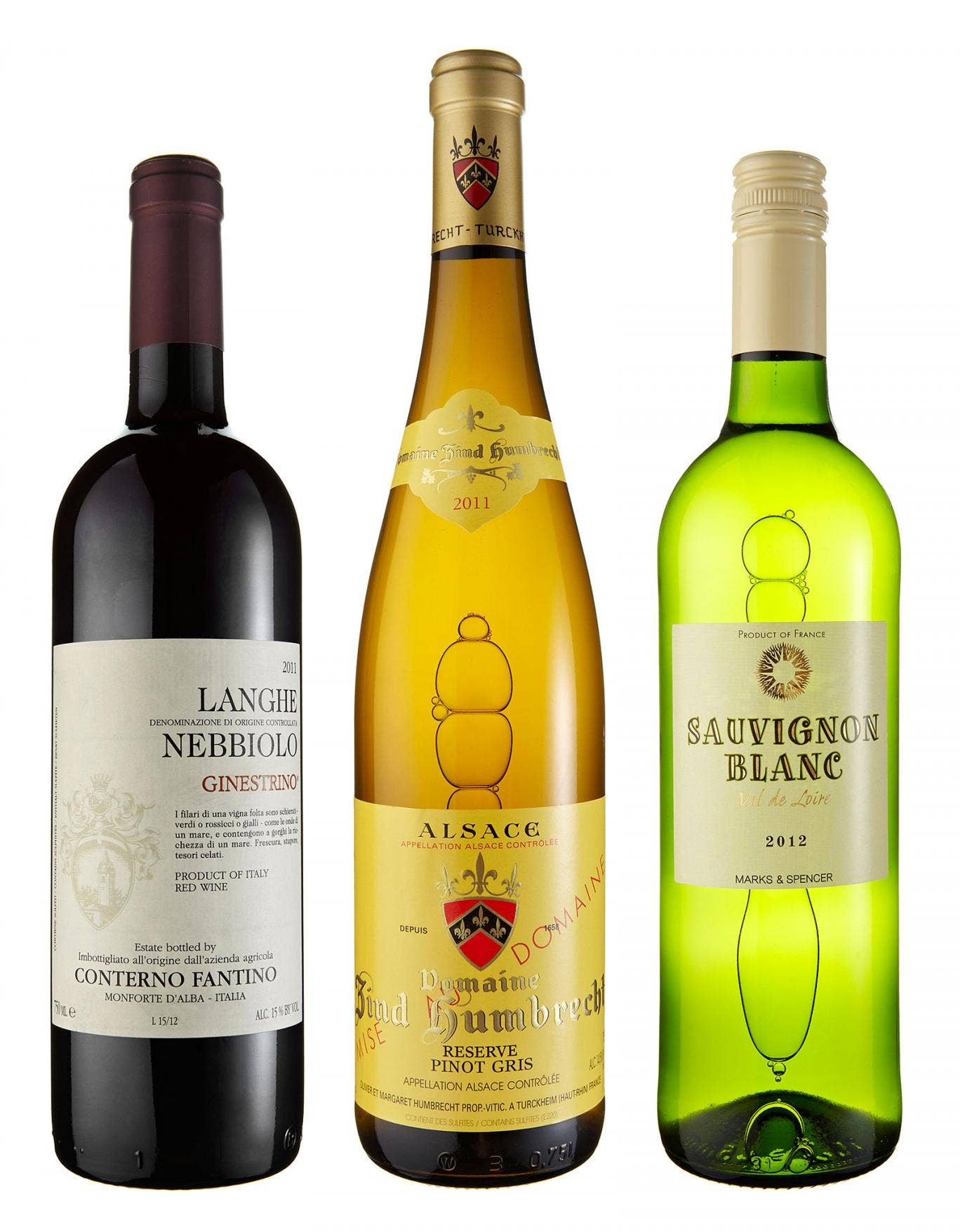 2012 Sauvignon Blanc, Vin de Pays du Val de Loire; 2011 Zind Humbrecht Reserve Pinot Gris; 2011 Conterno Fantino Langhe Nebbiolo Ginestrino, Langhe
