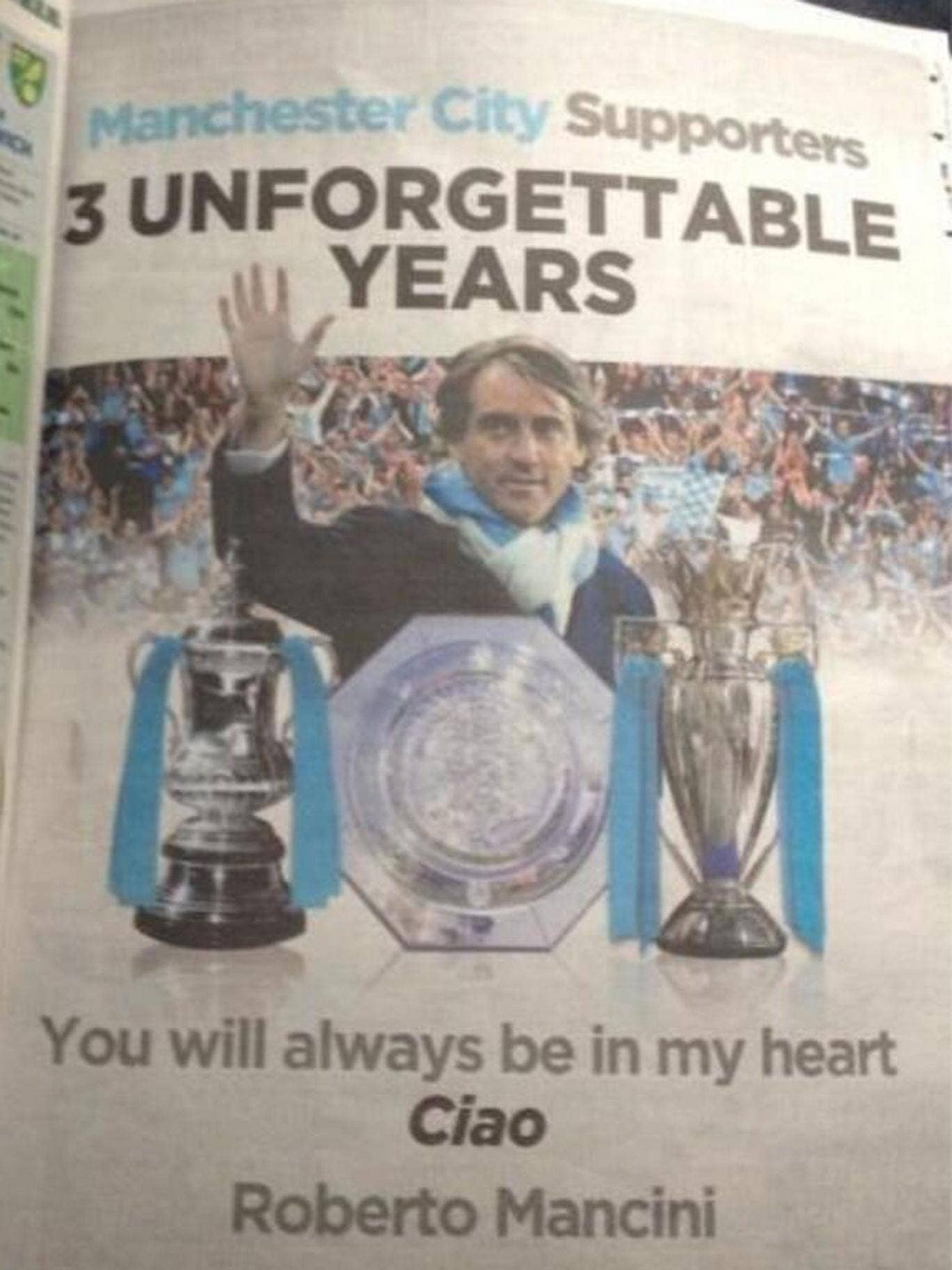 Ciao baby: How Mancini said goodbye to City supporters