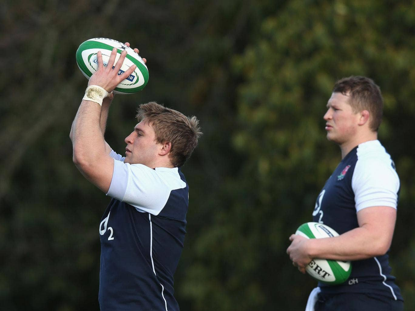 No 2's company: Competing Lions hookers Tom Youngs (left) and Dylan Hartley. 'On the training field you want to get ahead of each other,' says Youngs
