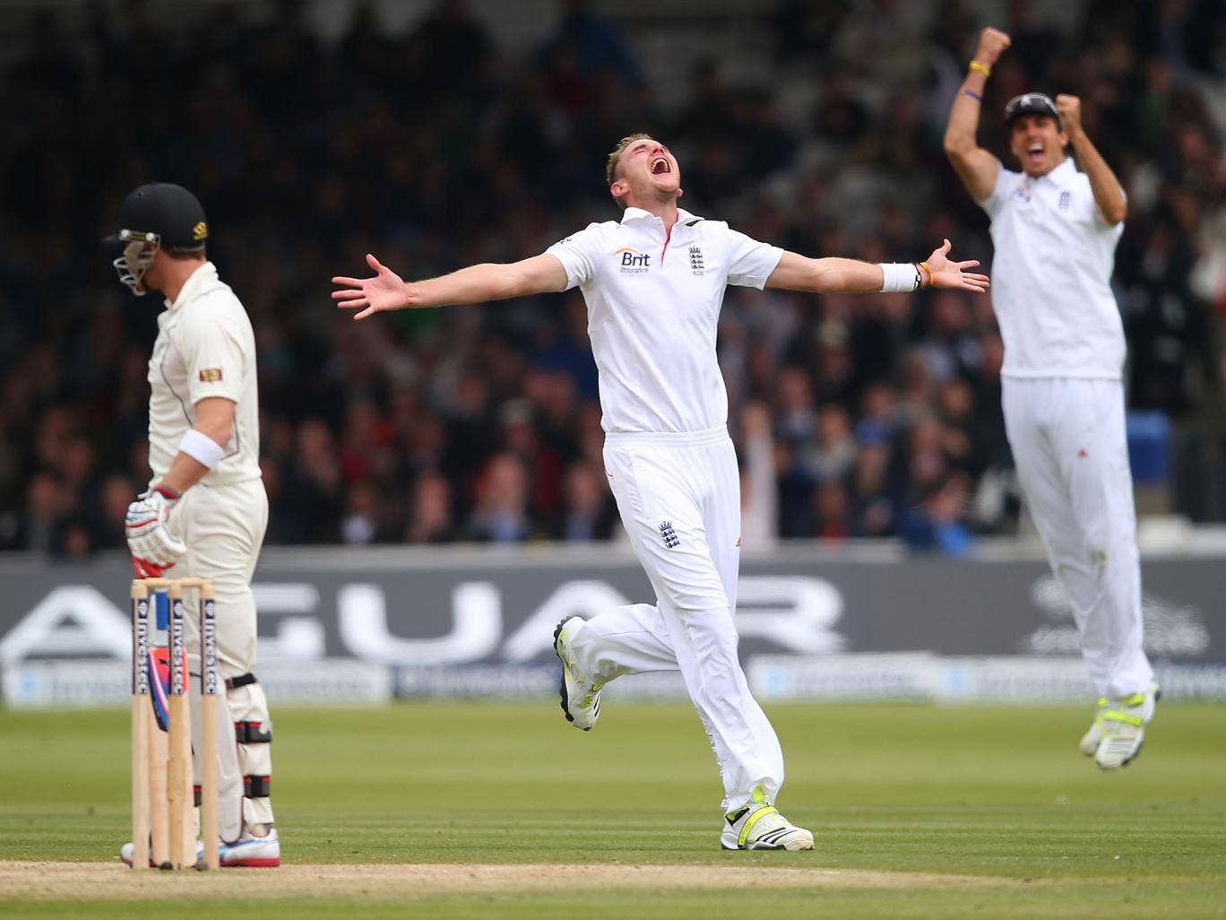 Stuart Broad of England celebrates the wicket of Brendon McCullum of New Zealand