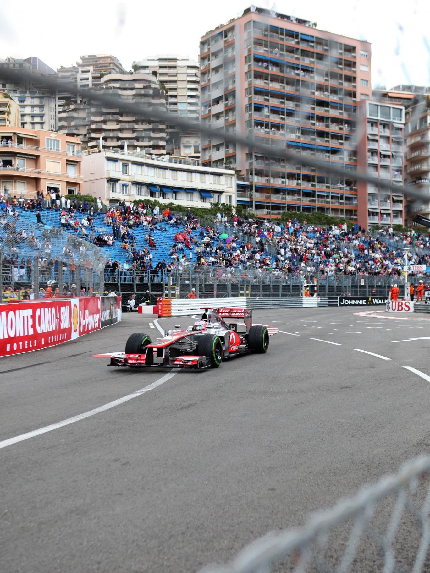 Jenson Button at Monaco 2012, when he failed to finish