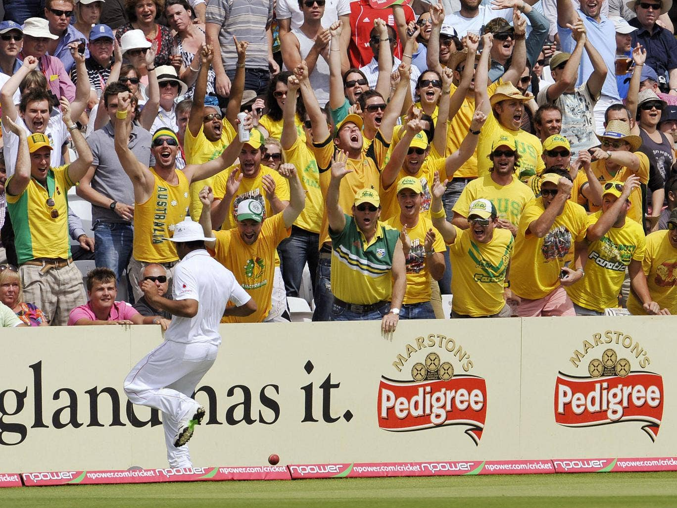Australian cricket fans during a Test match at Lord's