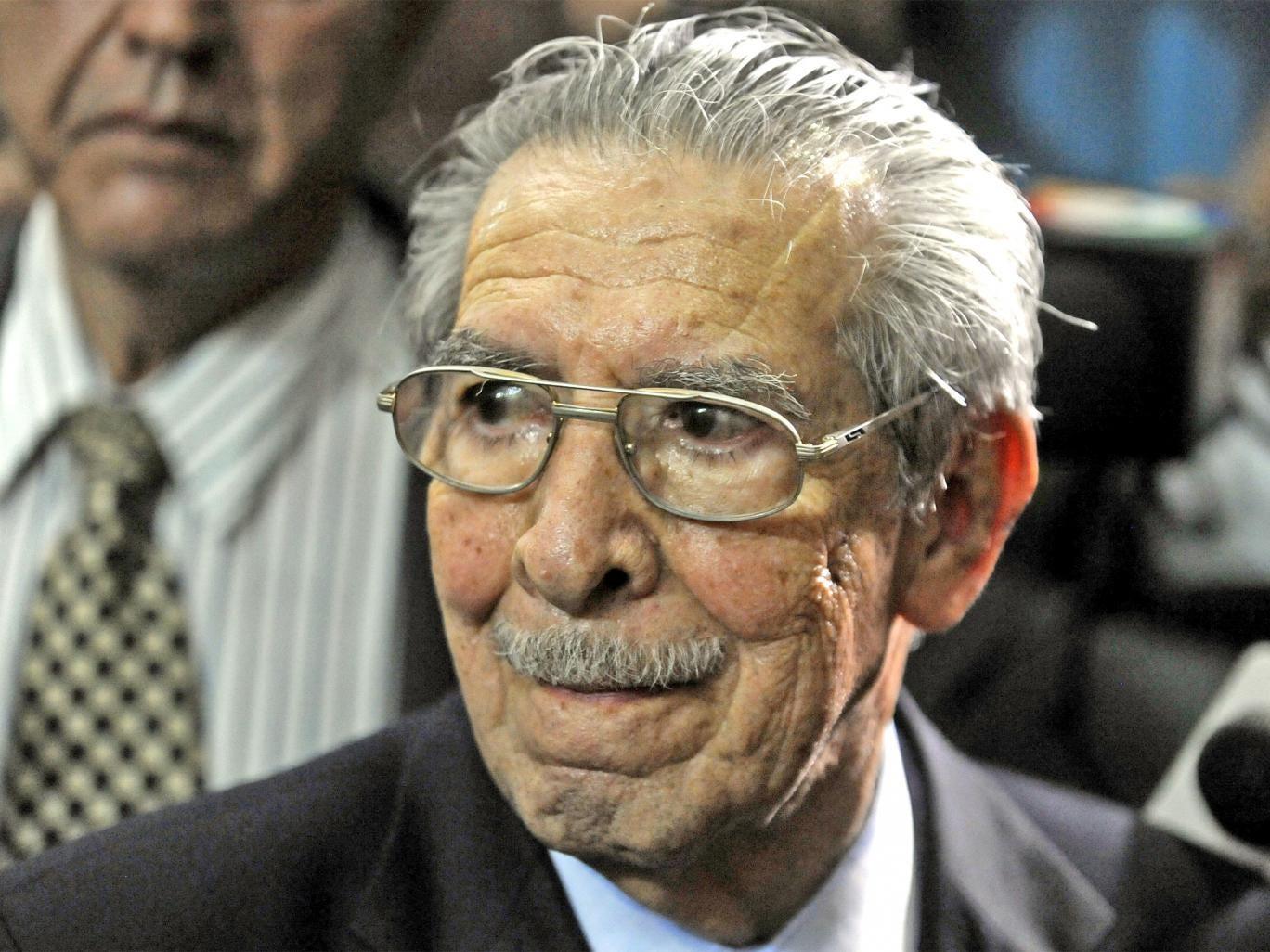 General Efrain Rios Montt listens in court yesterday