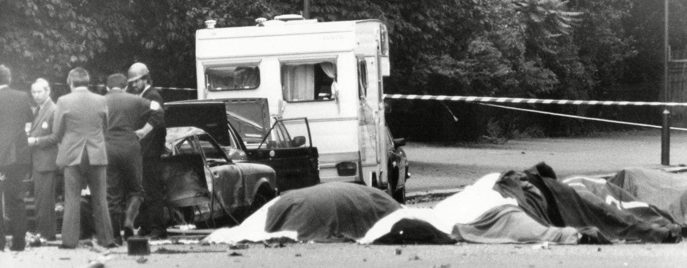 The dead horses of the Household Cavalry, after the nail bomb blast in Hyde park while they were on way to the changing of the guard at the Buckingham Palace. The IRA claimed responsibility for the attack