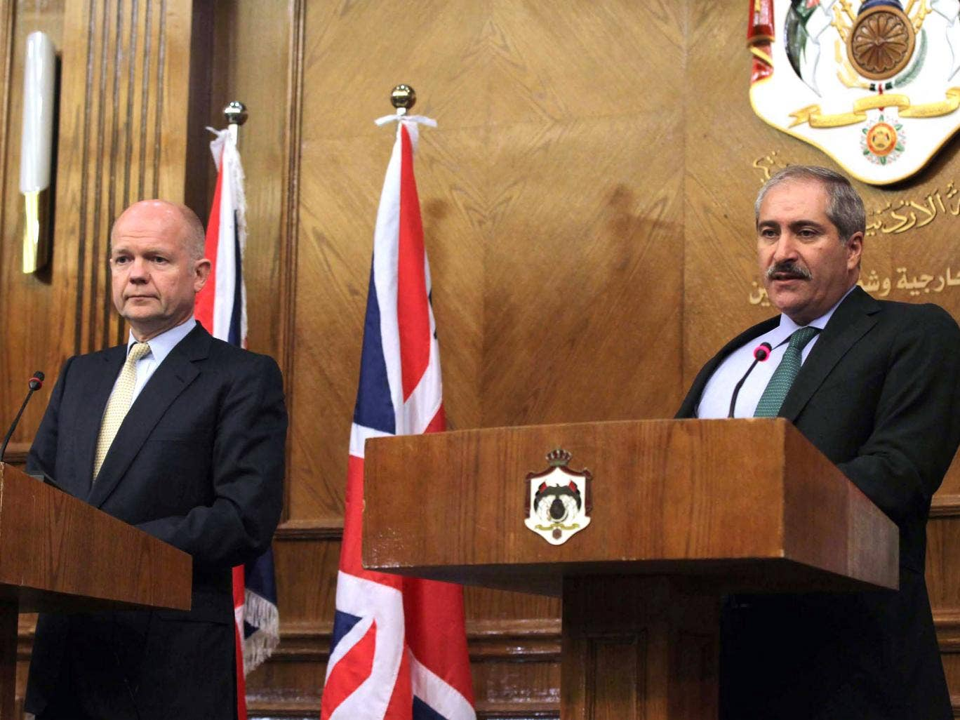 UK Foreign Secretary William Hague with Jordanian Foreign Minister Nasser Judeh